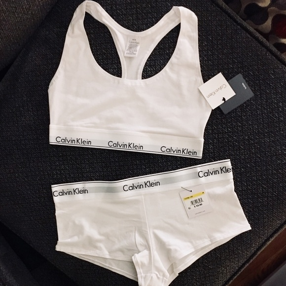 60ff9b828c536 Calvin Klein White Bra   Panties Underwear Set NWT